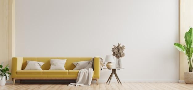 A sala de estar com parede branca tem sofá amarelo e decoração, renderização em 3d Foto Premium