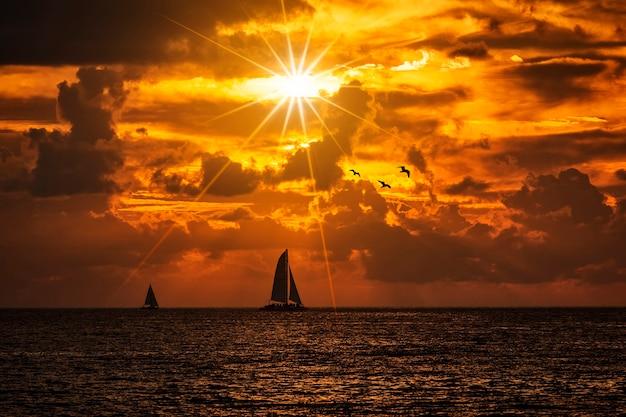 A silhueta do barco navegando ao longo de sua jornada em um pôr do sol vívido e colorido com pássaros Foto gratuita