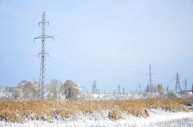 A torre da linha de energia está localizada em uma área pantanosa Foto Premium