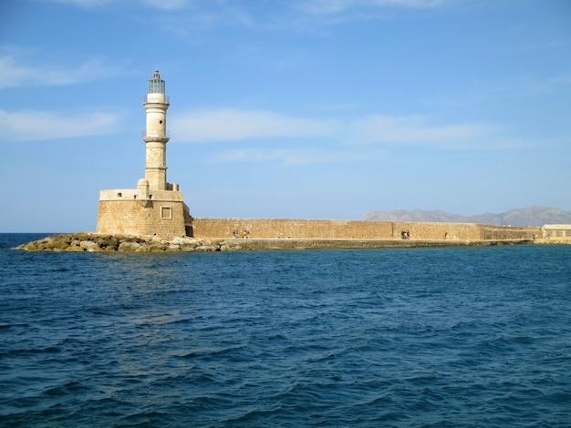 A, veneziano, farol, de, chania, histórico, marco, em, chania, porto velho, ilha crete, grécia Foto Premium