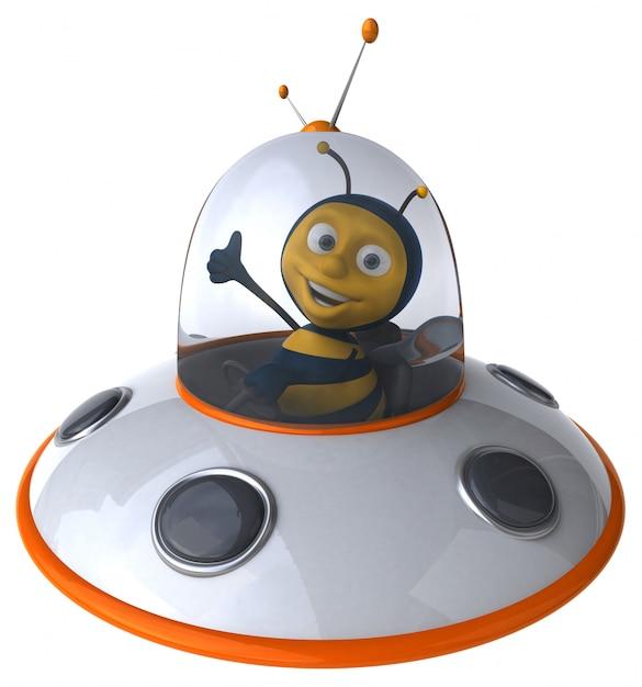 Abelha ilustrada engraçada em uma nave espacial mostrando os polegares Foto Premium