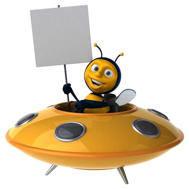 Abelha ilustrada engraçada em uma nave espacial segurando um cartaz Foto Premium