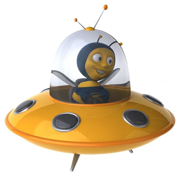 Abelha ilustrada engraçada em uma nave espacial Foto Premium