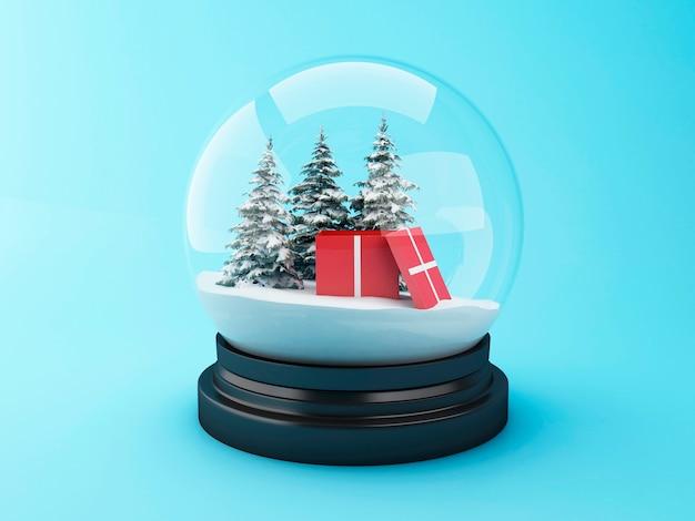 Abóbada da neve 3d com presente do natal. Foto Premium