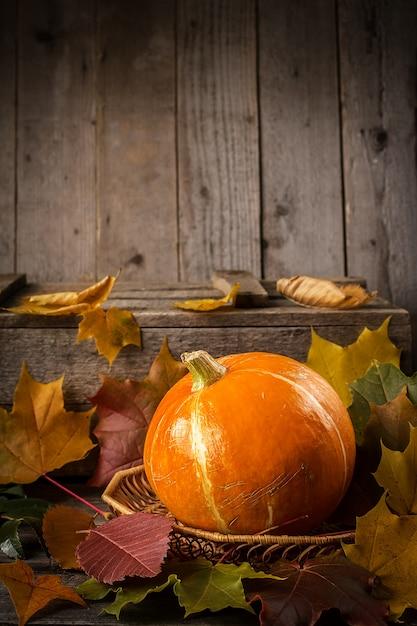 Abóbora amarela na mesa de madeira rústica Foto Premium