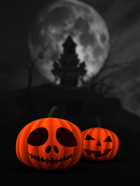Abóboras 3d assustador na paisagem do castelo assombrado Foto gratuita