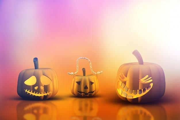 Abóboras 3d de halloween Foto gratuita