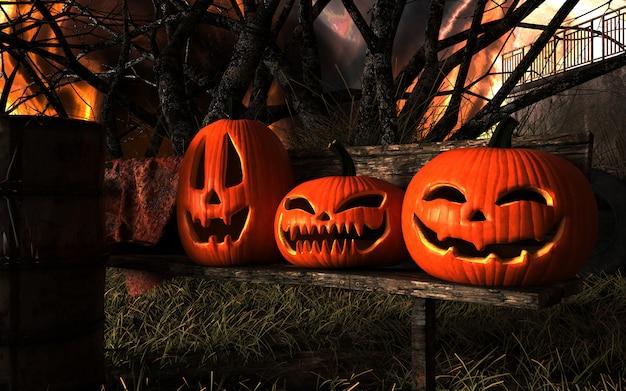 Abóboras assustadoras de halloween da lanterna de jack o e gato preto. Foto Premium