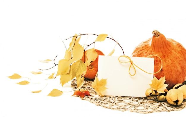 Abóboras e folhas de outono, Foto Premium