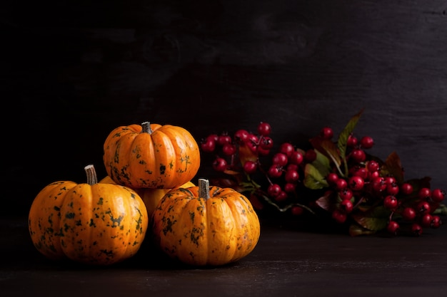 Abóboras laranja no backgound de madeira Foto Premium