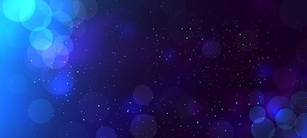 Abstrato azul bokeh turva luz no escuro Foto Premium