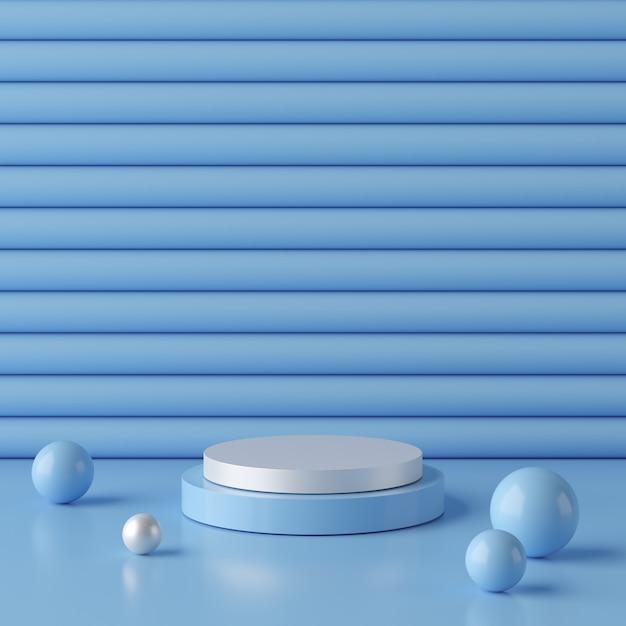 Abstrato azul com pódio de forma geométrica para o produto. conceito mínimo. renderização em 3d Foto Premium