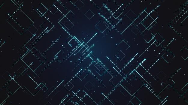 Abstrato base tecnológico com ilustração 3d de listras e partículas Foto Premium
