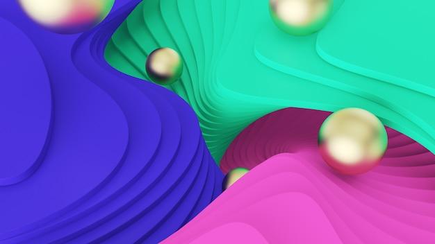 Abstrato. bolas douradas rolar nos degraus verdes, rosa e azuis. realidade psicodélica e mundos paralelos Foto Premium