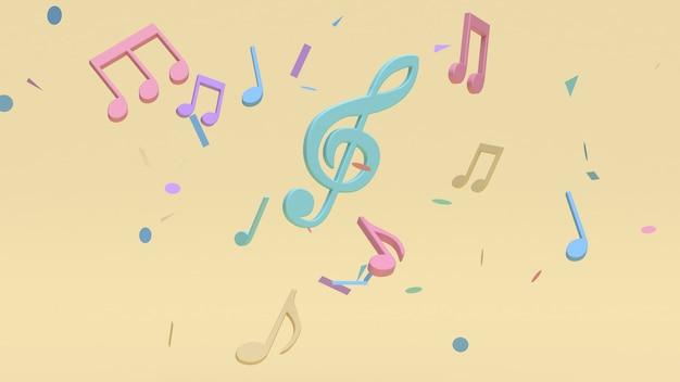 Abstrato colorido muitas notas de música, sol-chave estilo cartoon macio amarelo mínimo fundo renderização em 3d Foto Premium