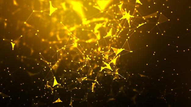 Abstrato dot e conectar linha para tecnologia futurista e conceito de conexão de rede cibernética com proporção de tela widescreen processada de grãos e grãos Foto Premium