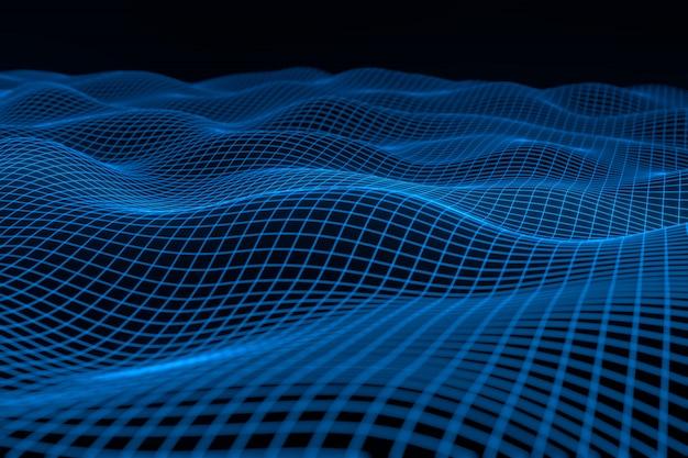Abstrato geométrico com paisagem digital ou ondas. Foto Premium
