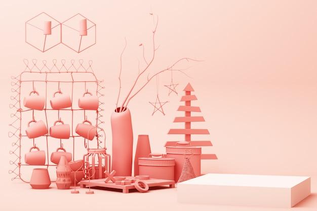 Abstrato geométrico forma pastel rosa cor cena mínima com decoração e prop, design para cosméticos ou produto pódio de exibição 3d render Foto Premium