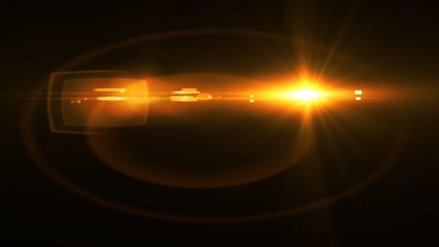 Abstrato luz brilhante sol estourar com lente digital flare Foto Premium
