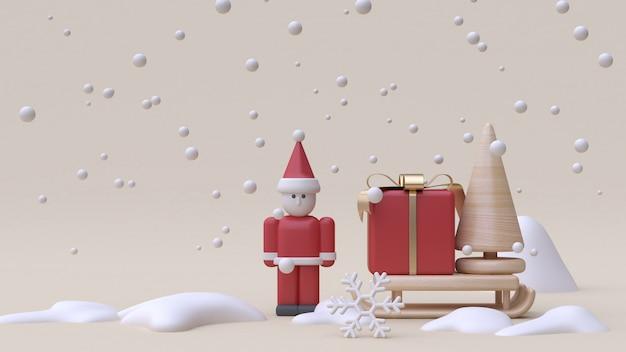 Abstrato papai noel e caixa de presente trenó inverno neve ano novo estilo cartoon brinquedo de madeira mínimo creme fundo renderização em 3d Foto Premium