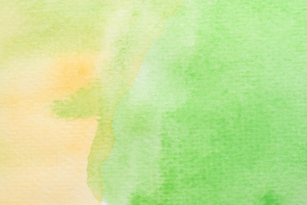Abstrato verde, amarelo e branco fundo aquarela. pintura de mão de arte Foto Premium