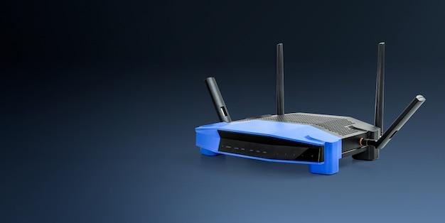 Abtract 5g, fundo azul do router sem fio moderno de 2.4g wifi com trajeto de grampeamento. Foto Premium