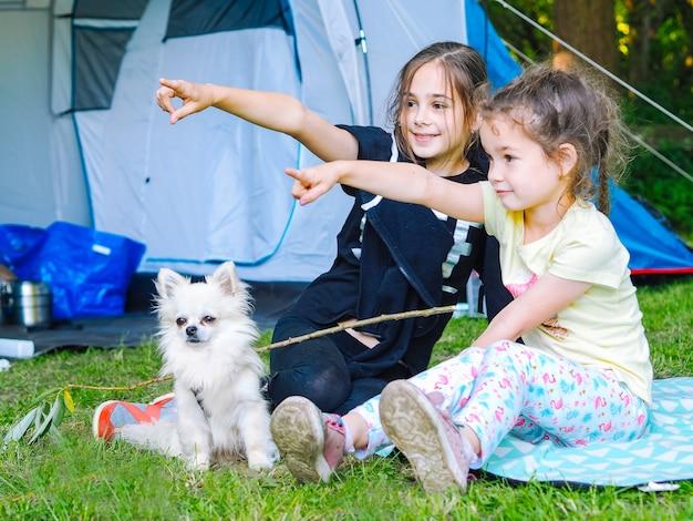 Acampe na barraca - meninas com um cachorro chihuahua sentadas juntas perto da barraca. Foto Premium