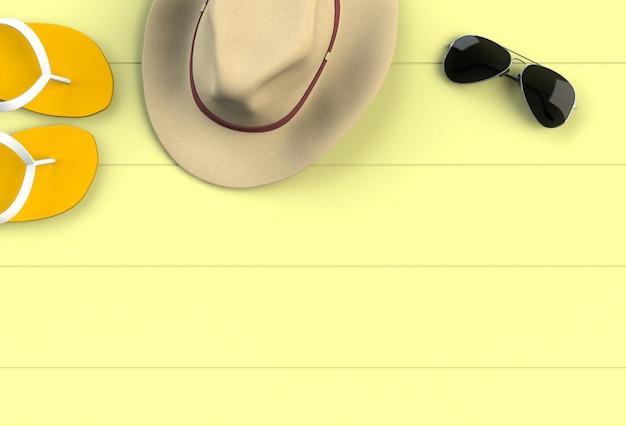 Acessórios de praia na placa de madeira amarela Foto Premium