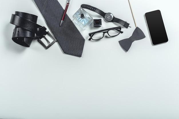 Acessórios masculinos. vista do topo. Foto Premium
