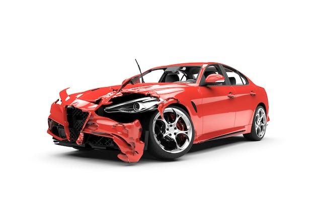 Acidente de carro vermelho lateral em um branco Foto Premium