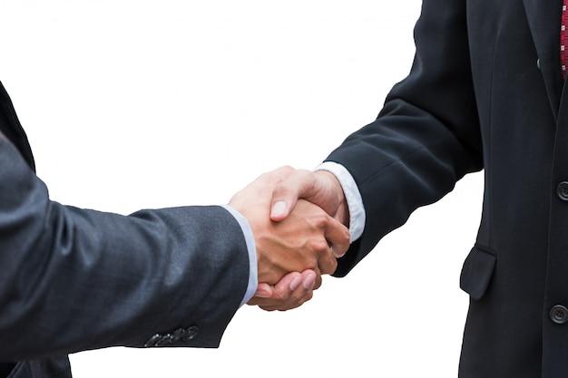 Acordo de aperto de mão do empresário com parceria em fundo Foto Premium