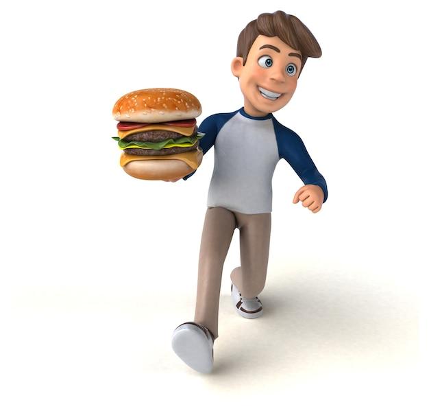 Adolescente divertido personagem de desenho animado 3d Foto Premium