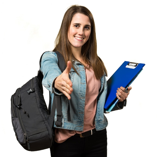 Adolescente, estudante, menina, segurando, livros, fazer, negócio Foto Premium