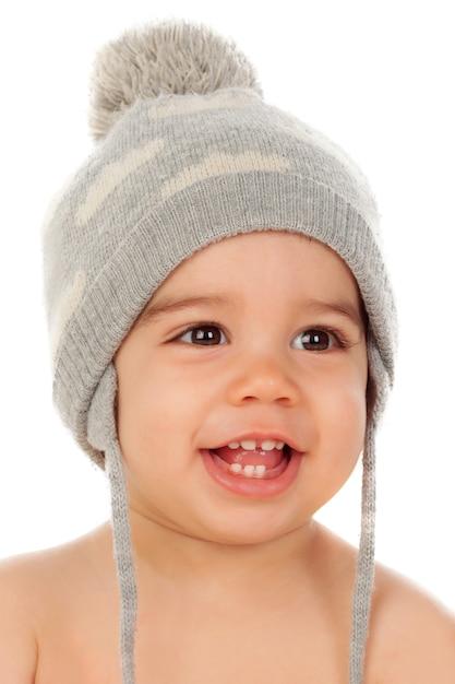 Adorável bebê com gorro de lã Foto Premium 56673f9e70f