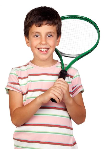 Adorável, criança, com, um, raquete tênis, isolado, ligado, um, sobre, branca Foto Premium