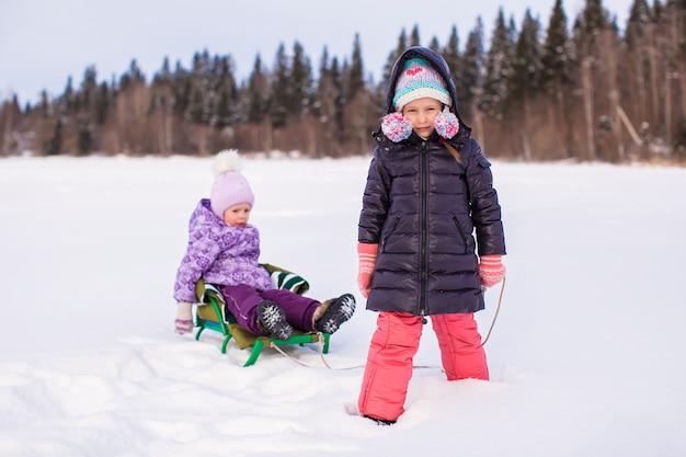 Adorável garota feliz trenó sua irmãzinha Foto Premium