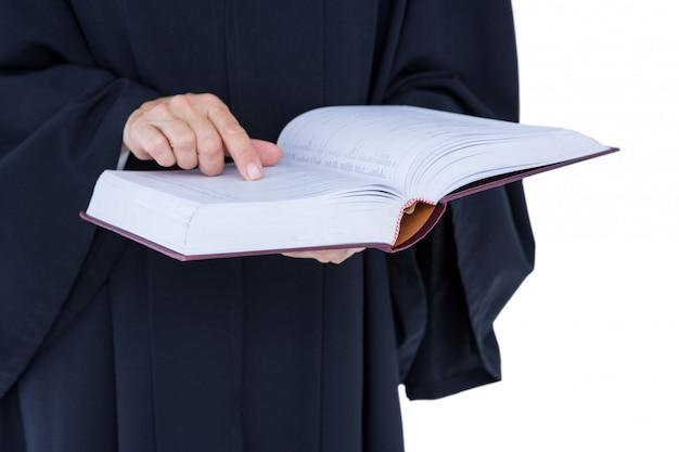 Advogado bonito feliz segurando o código de trabalho Foto Premium