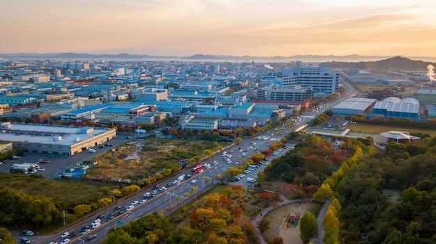 Aeria vista do parque industrial de incheon Foto Premium