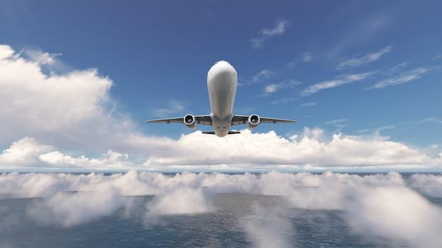Aeronaves sobre o céu azul de nuvem Foto Premium