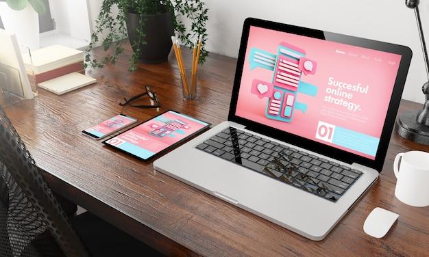 Agência de marketing online de dispositivos em renderização 3d em desktop de madeira Foto Premium