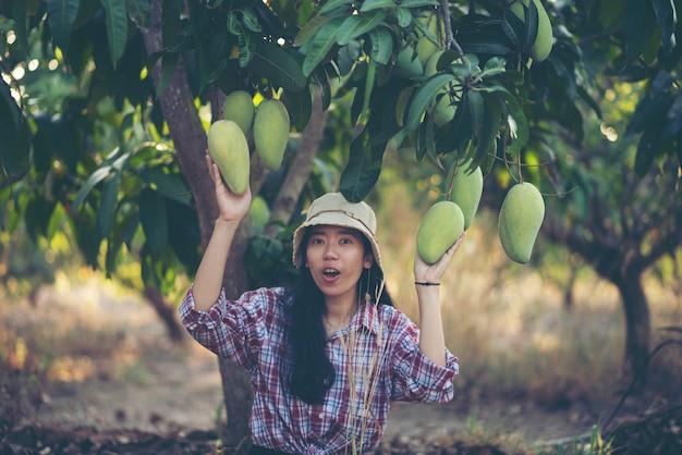 Agricultor de mulheres jovens, fazenda de manga Foto Premium