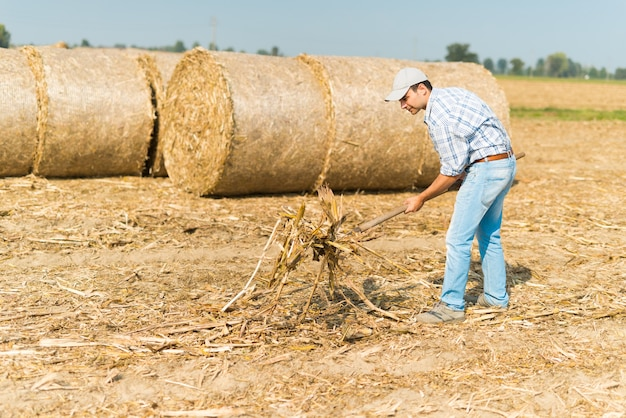Agricultor no trabalho em seu campo Foto Premium