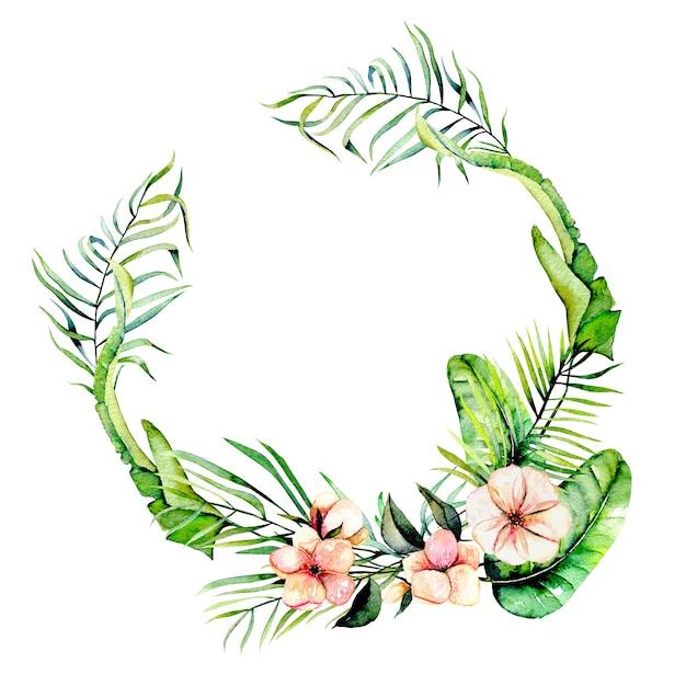 Aguarela rosa flores exóticas e folhas de palmeiras tropicais quadro de borda, grinalda, pintado à mão em um fundo branco Foto Premium