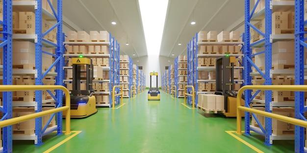 Agv forklift trucks-transport mais com segurança no armazém. Foto Premium