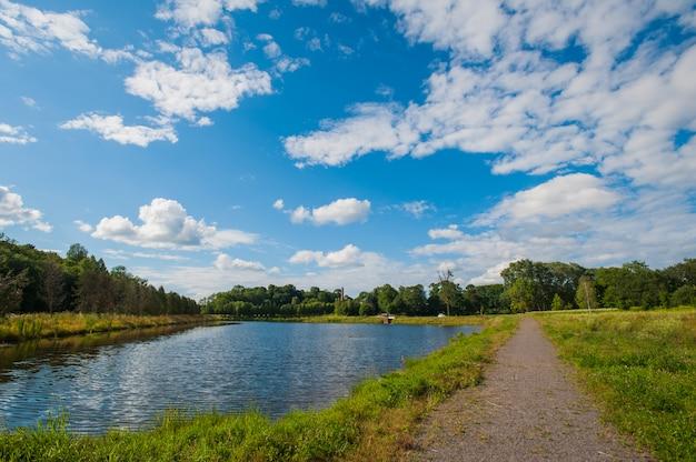 Ainda lago bonito com as árvores no horizonte e as nuvens inchado brancas no céu. dia de verão tranquilo na casa de campo. grandes árvores verdes em um lago Foto Premium