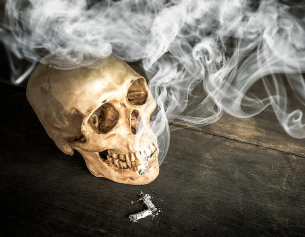Ainda vida crânio de um esqueleto com cigarro aceso Foto Premium