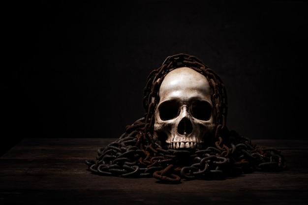 Ainda vida de crânio humano que morreu por muito tempo, Foto Premium