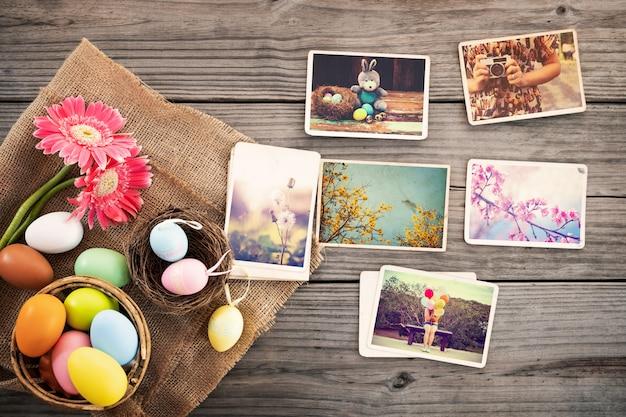 Álbum de fotos em lembrança e nostalgia do feliz dia da páscoa Foto Premium
