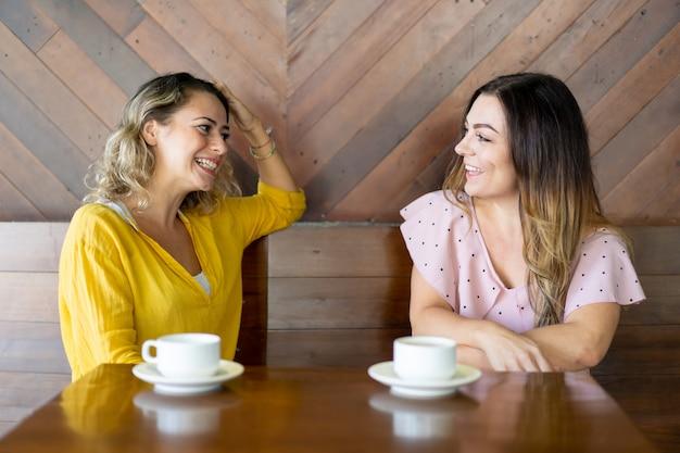 Alegres femininos amigos conversando no café Foto gratuita