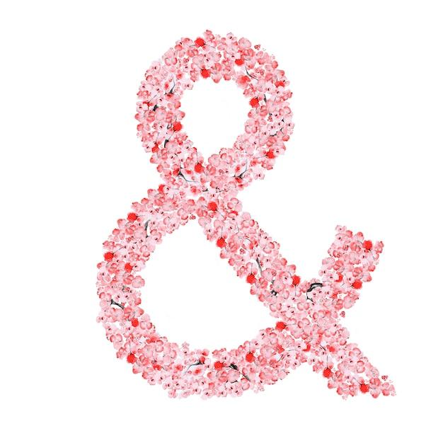 Alfabeto de flor de sakura Foto Premium